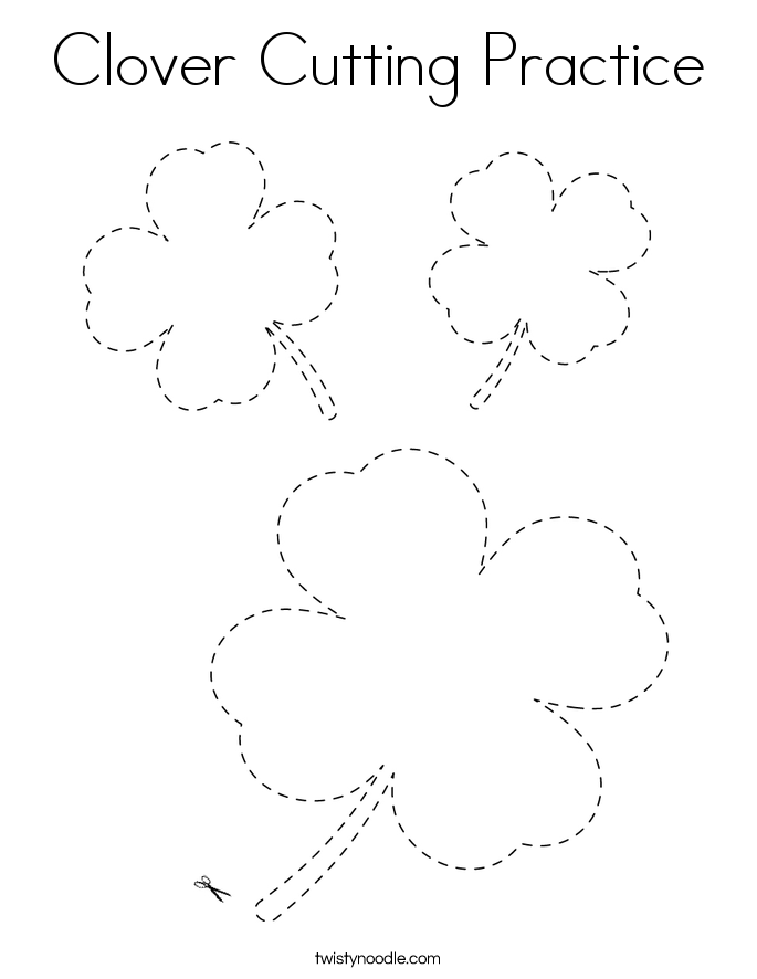 Clover Cutting Practice Coloring Page