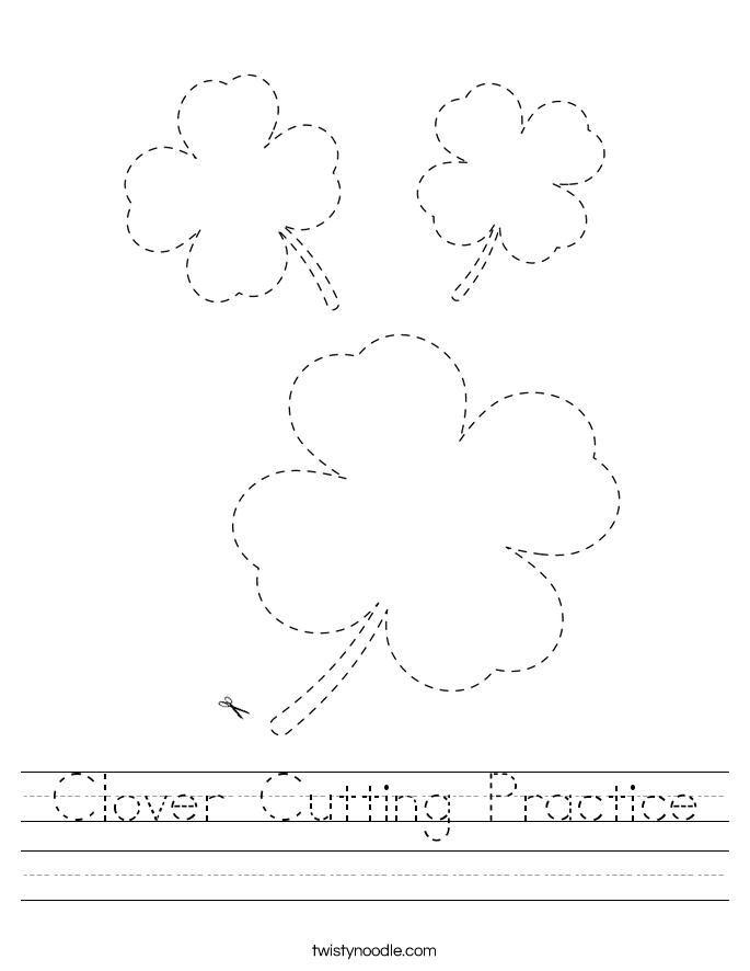 Clover Cutting Practice Worksheet