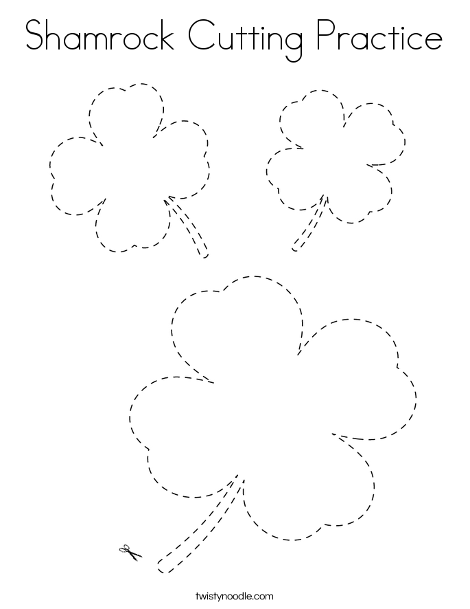 Shamrock Cutting Practice Coloring Page