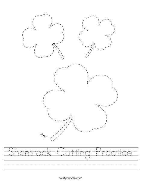 Shamrock Cutting Practice Worksheet