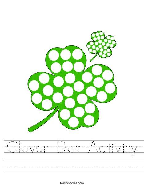 Shamrock Dot Activity Worksheet