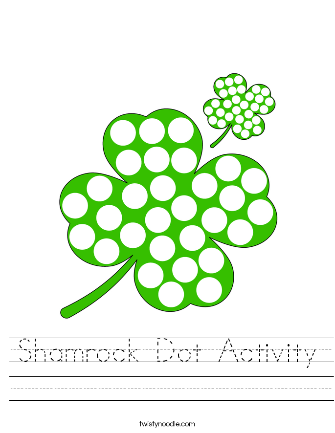 Shamrock Dot Activity Worksheet