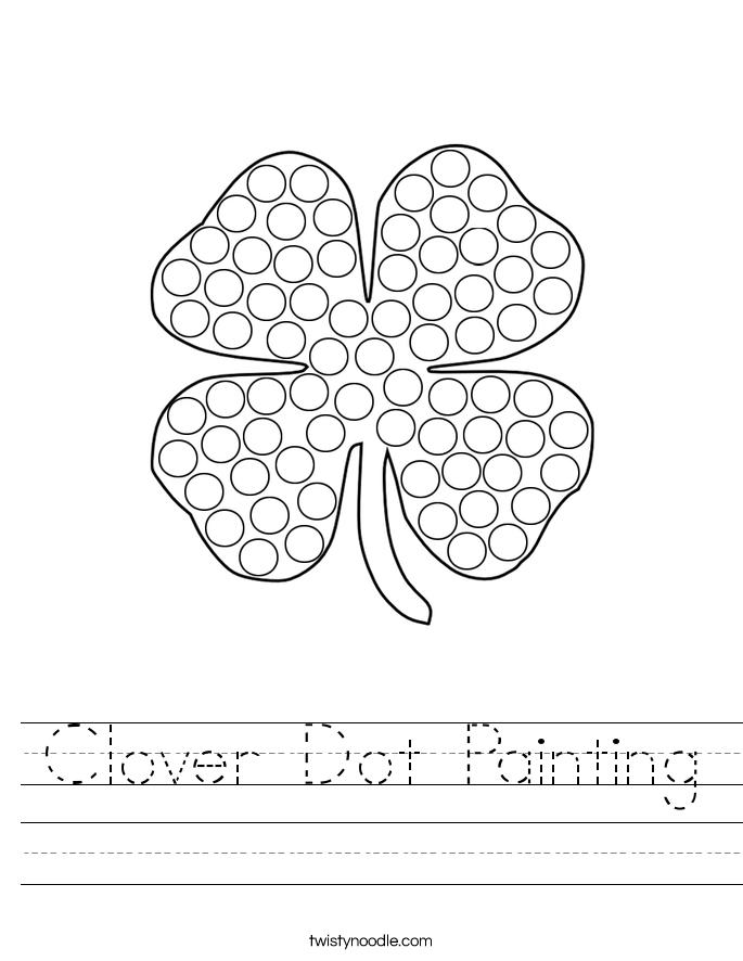 Clover Dot Painting Worksheet