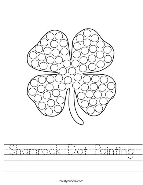 Shamrock Dot Painting Worksheet