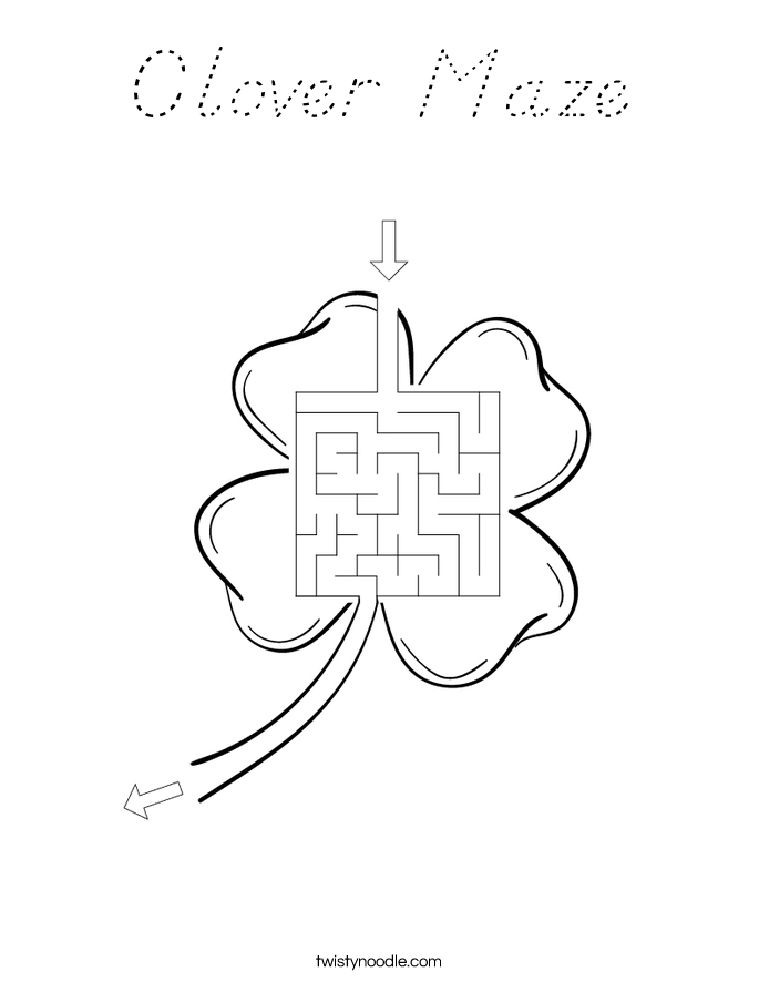 Clover Maze Coloring Page