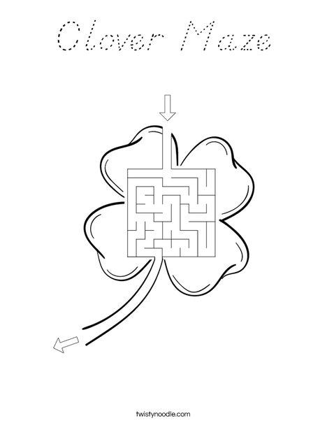 Shamrock Maze Coloring Page