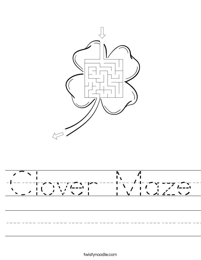 Clover Maze Worksheet