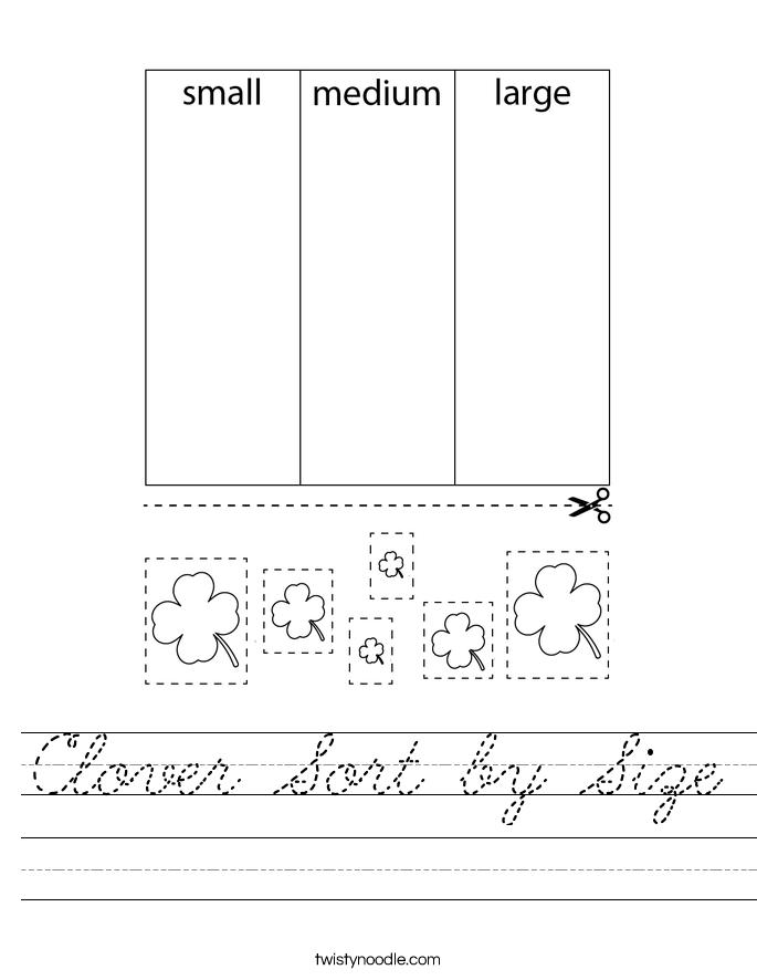 Clover Sort by Size Worksheet