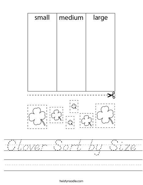 Shamrock Sort by Size Worksheet