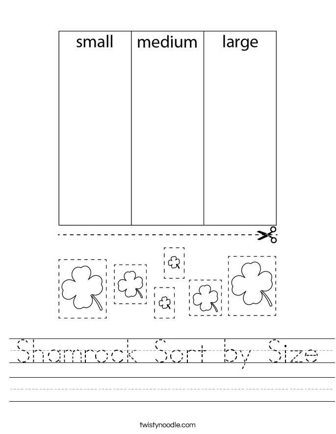 Shamrock Sort by Size Worksheet