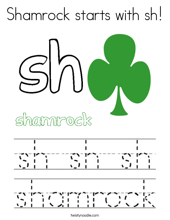 Shamrock starts with sh! Coloring Page