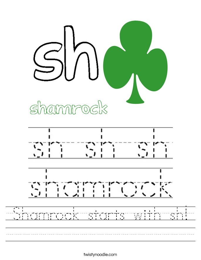 Shamrock starts with sh! Worksheet