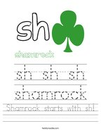 Shamrock starts with sh Handwriting Sheet