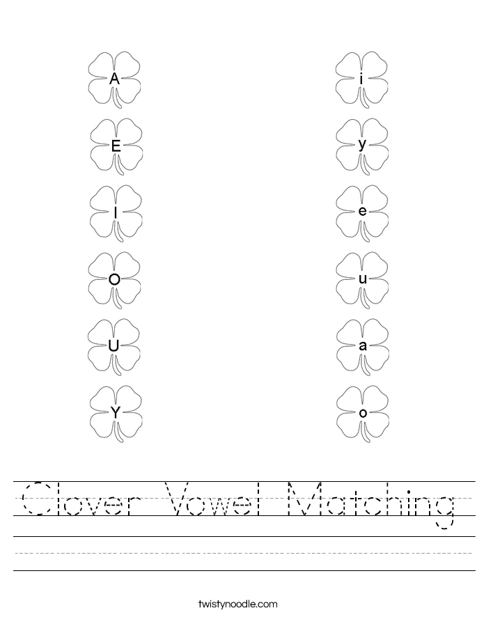 Clover Vowel Matching Worksheet