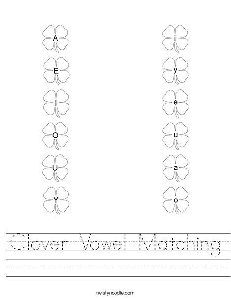Shamrock Vowel Matching Worksheet