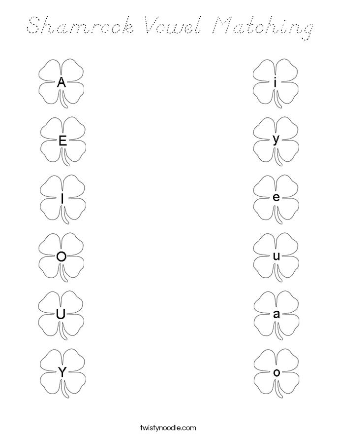 Shamrock Vowel Matching Coloring Page