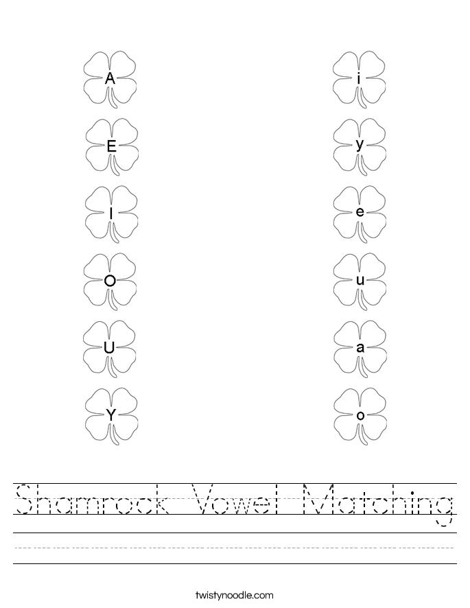 Shamrock Vowel Matching Worksheet
