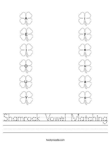 shamrock vowel matching worksheet twisty noodle. Black Bedroom Furniture Sets. Home Design Ideas