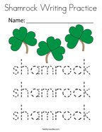 Shamrock Writing Practice Coloring Page
