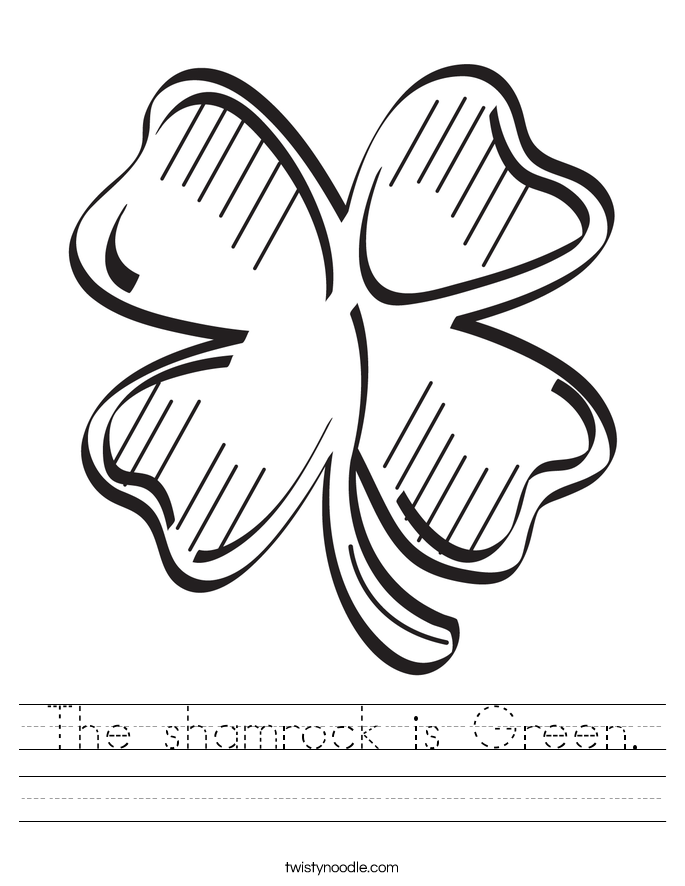 The shamrock is Green. Worksheet