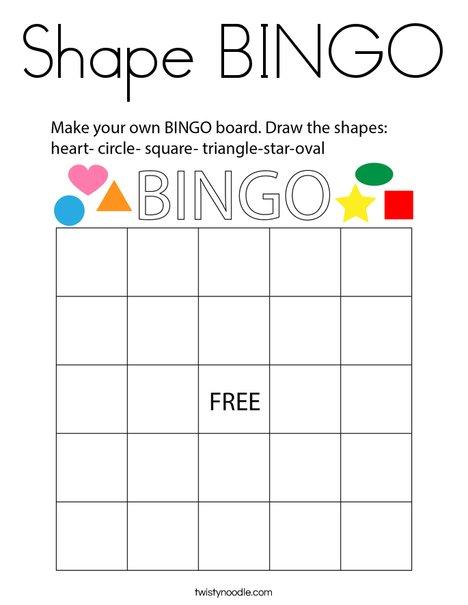 Shape Bingo Coloring Page