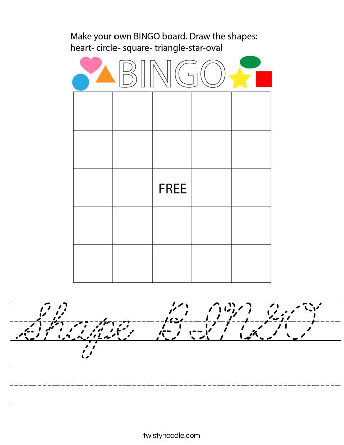 Shape BINGO Worksheet