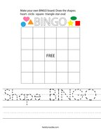 Shape BINGO Handwriting Sheet