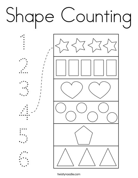 Shape Counting Coloring Page