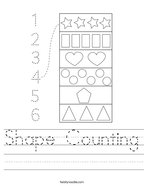 Shape Counting Handwriting Sheet