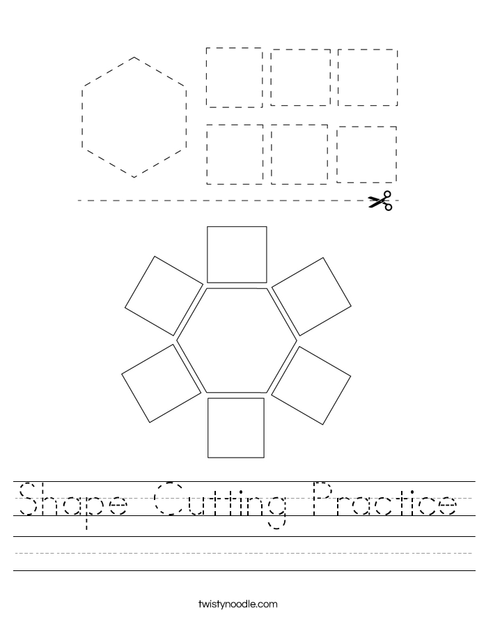 Shape Cutting Practice Worksheet