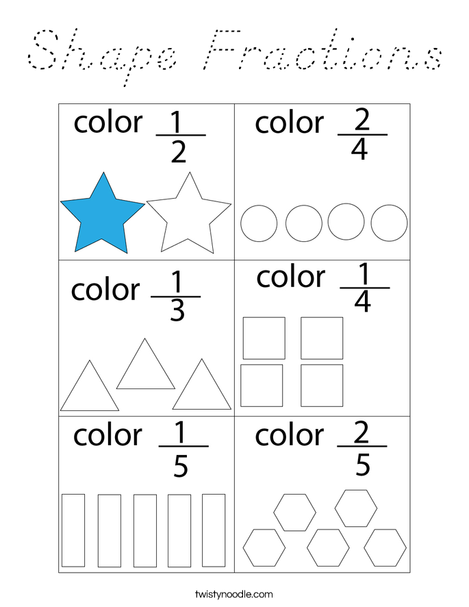 Shape Fractions Coloring Page