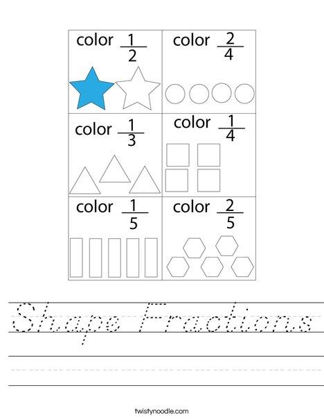 Shape Fractions Worksheet