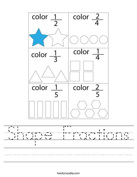 Shape Fractions Worksheet