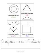 Shapes and Colors Handwriting Sheet