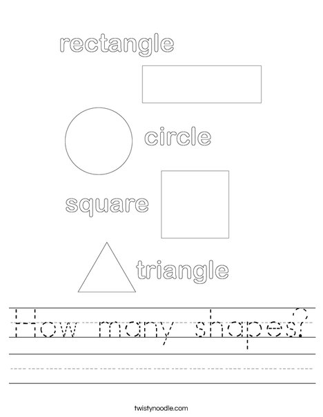 How Many Shapes Worksheet Twisty Noodle