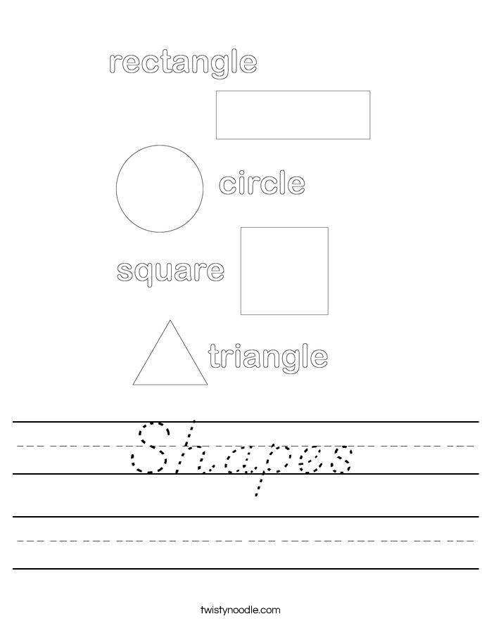 Shapes Worksheet - D'Nealian - Twisty Noodle