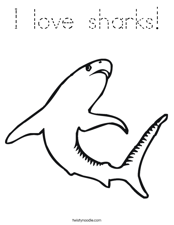 I love sharks! Coloring Page