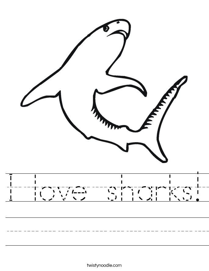 I Love Sharks Worksheet Twisty Noodle