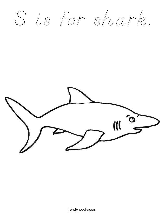 S is for shark. Coloring Page