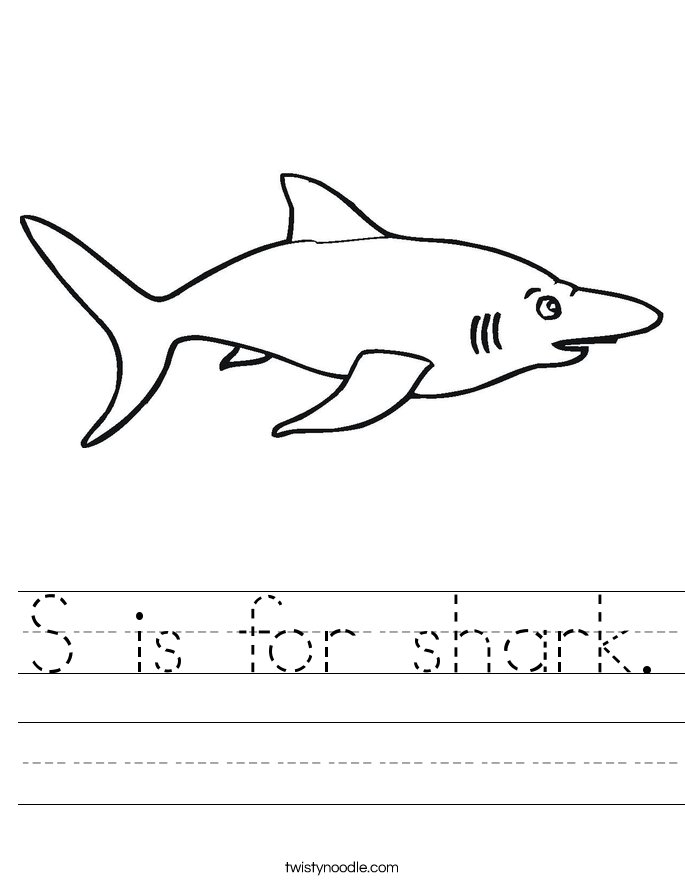 S is for shark. Worksheet