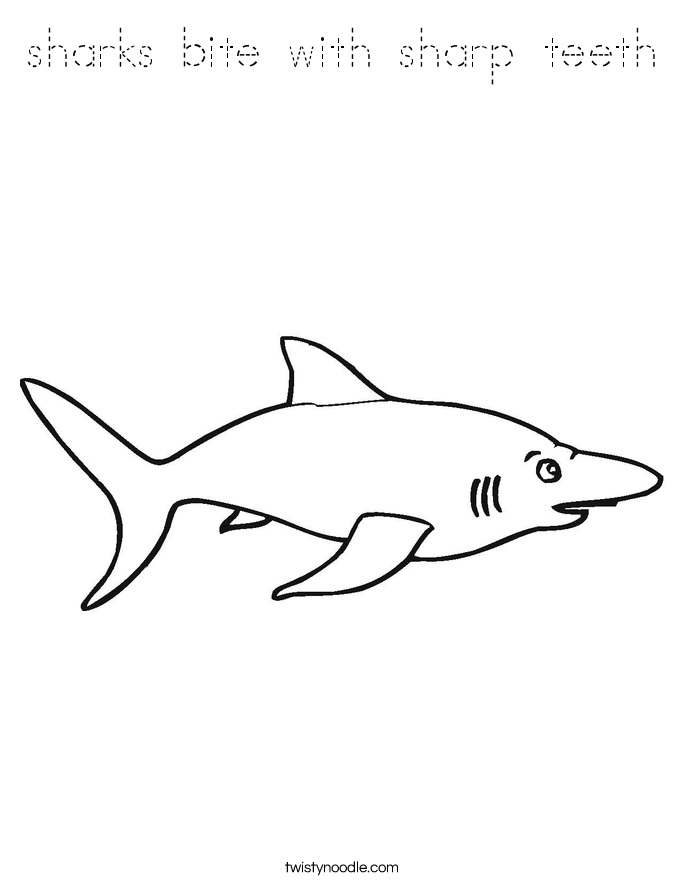sharks bite with sharp teeth Coloring Page