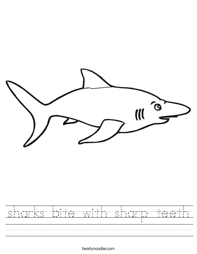 sharks bite with sharp teeth Worksheet