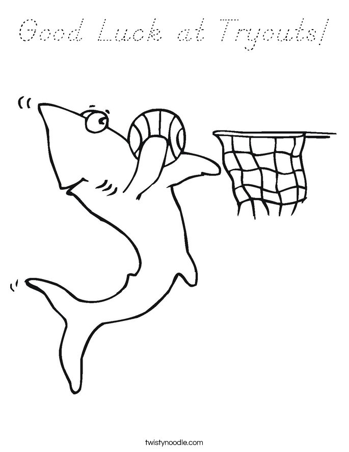 Good Luck at Tryouts! Coloring Page
