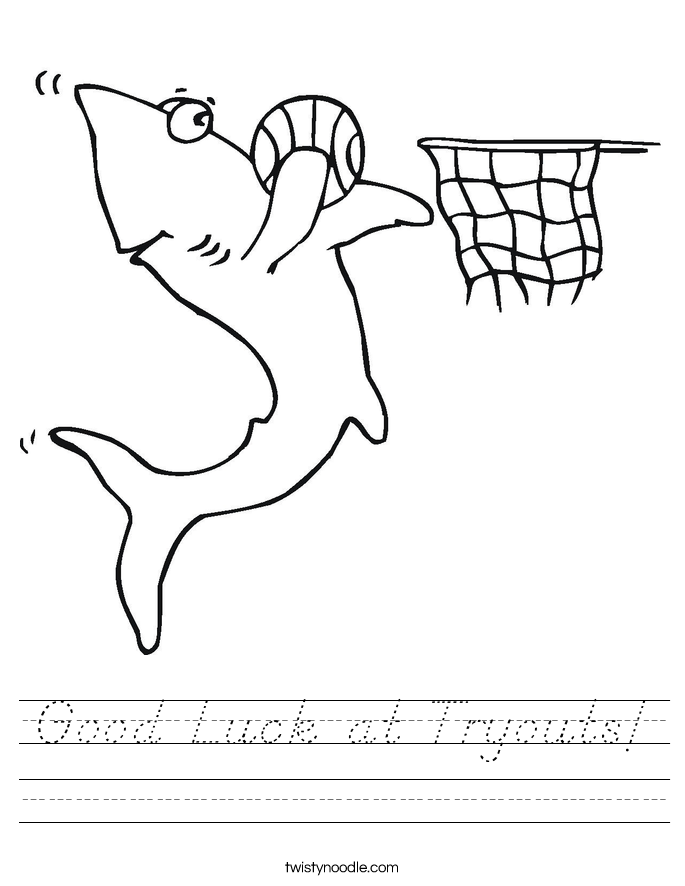 Good Luck at Tryouts! Worksheet