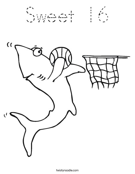 Sharks love Basketball! Coloring Page