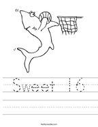 Sweet 16 Handwriting Sheet