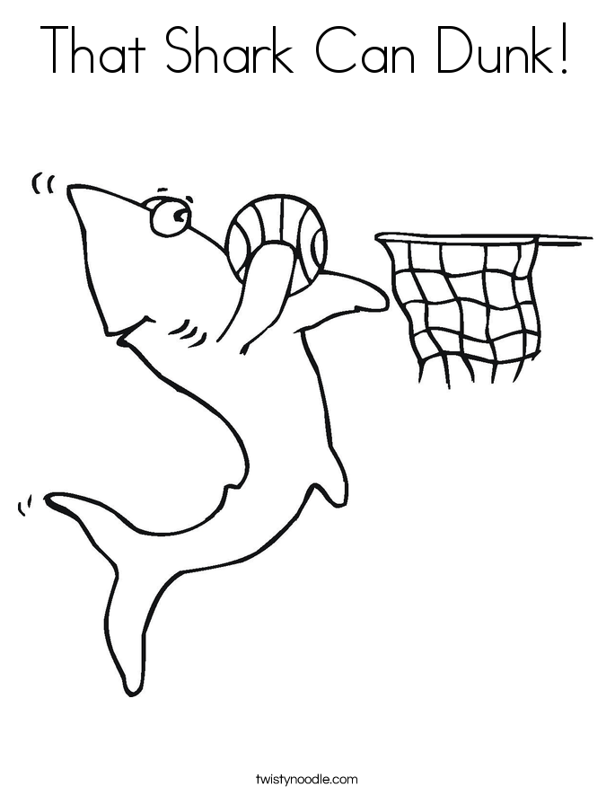 That Shark Can Dunk! Coloring Page