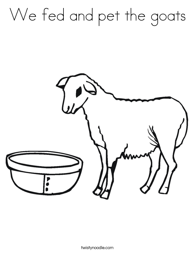 We fed and pet the goats Coloring Page