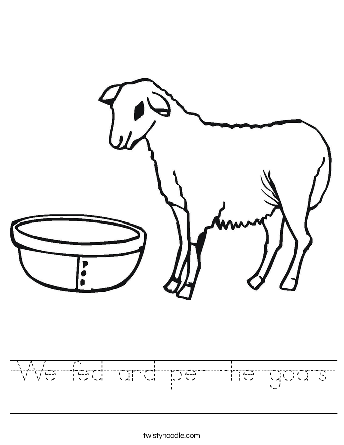We fed and pet the goats Worksheet