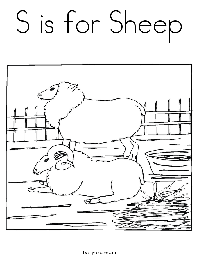 S is for sheep coloring page twisty noodle for Baa baa black sheep coloring page